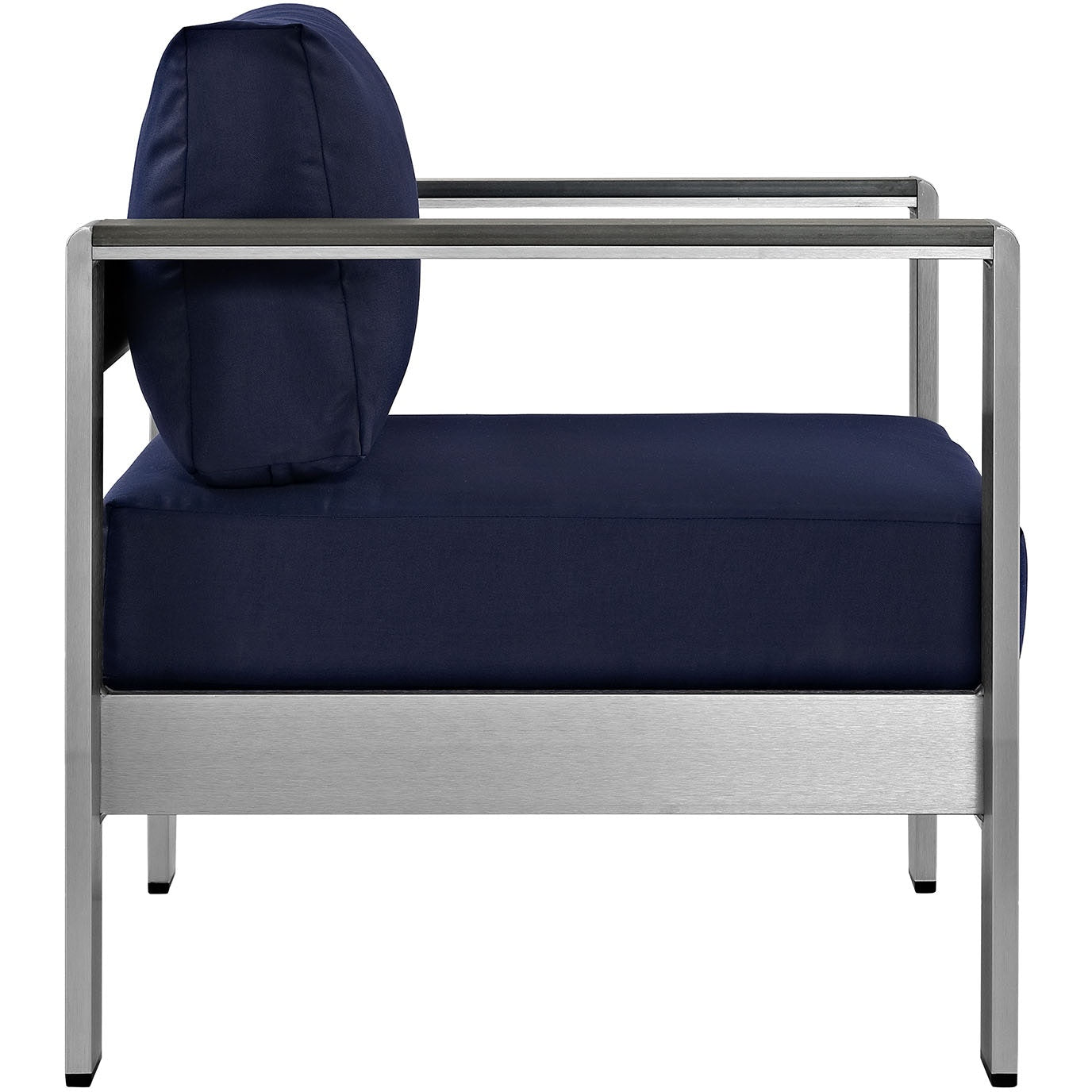 Shore Outdoor Patio Aluminum Armchair - Silver Navy