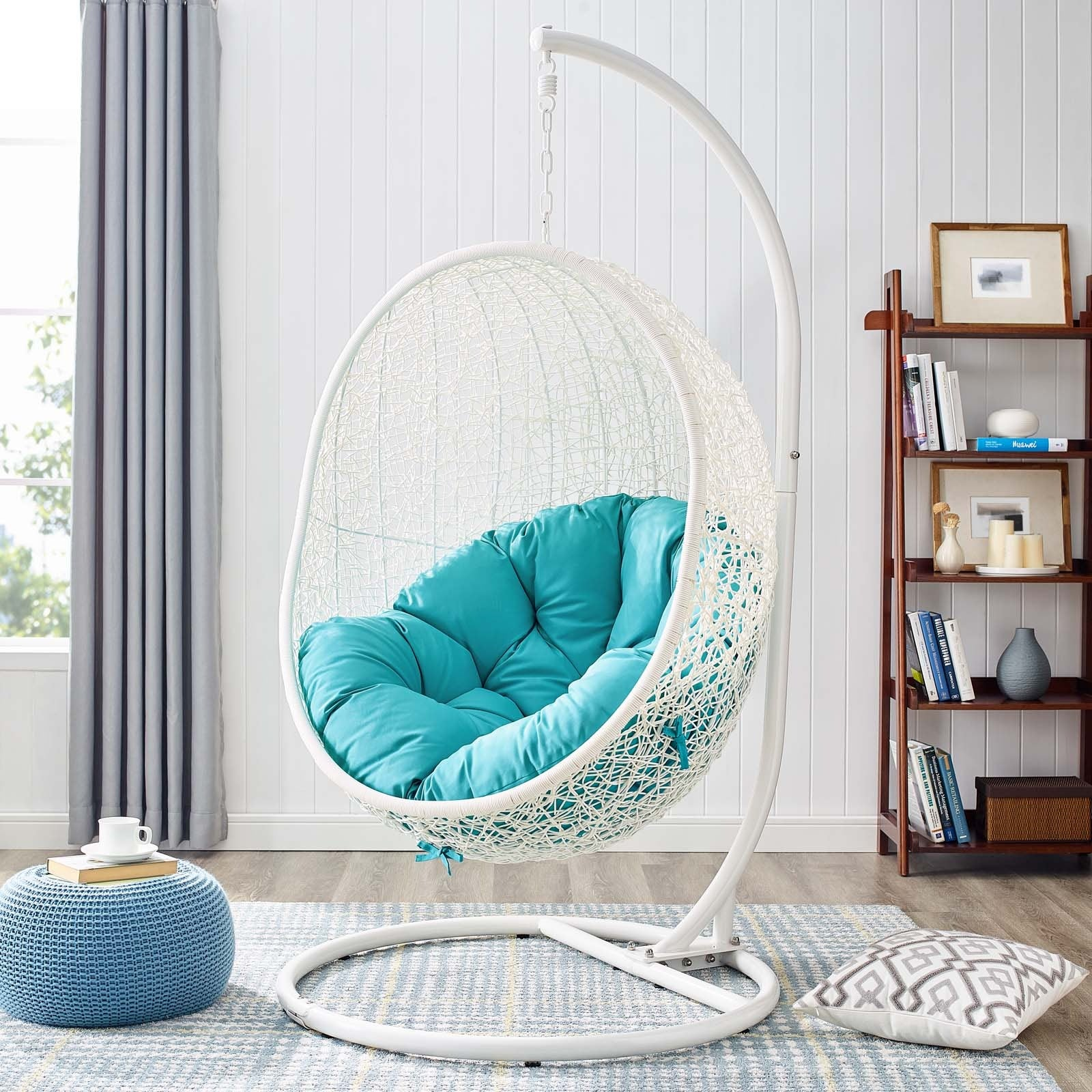Hide Outdoor Patio Swing Chair With Stand - White Turquoise