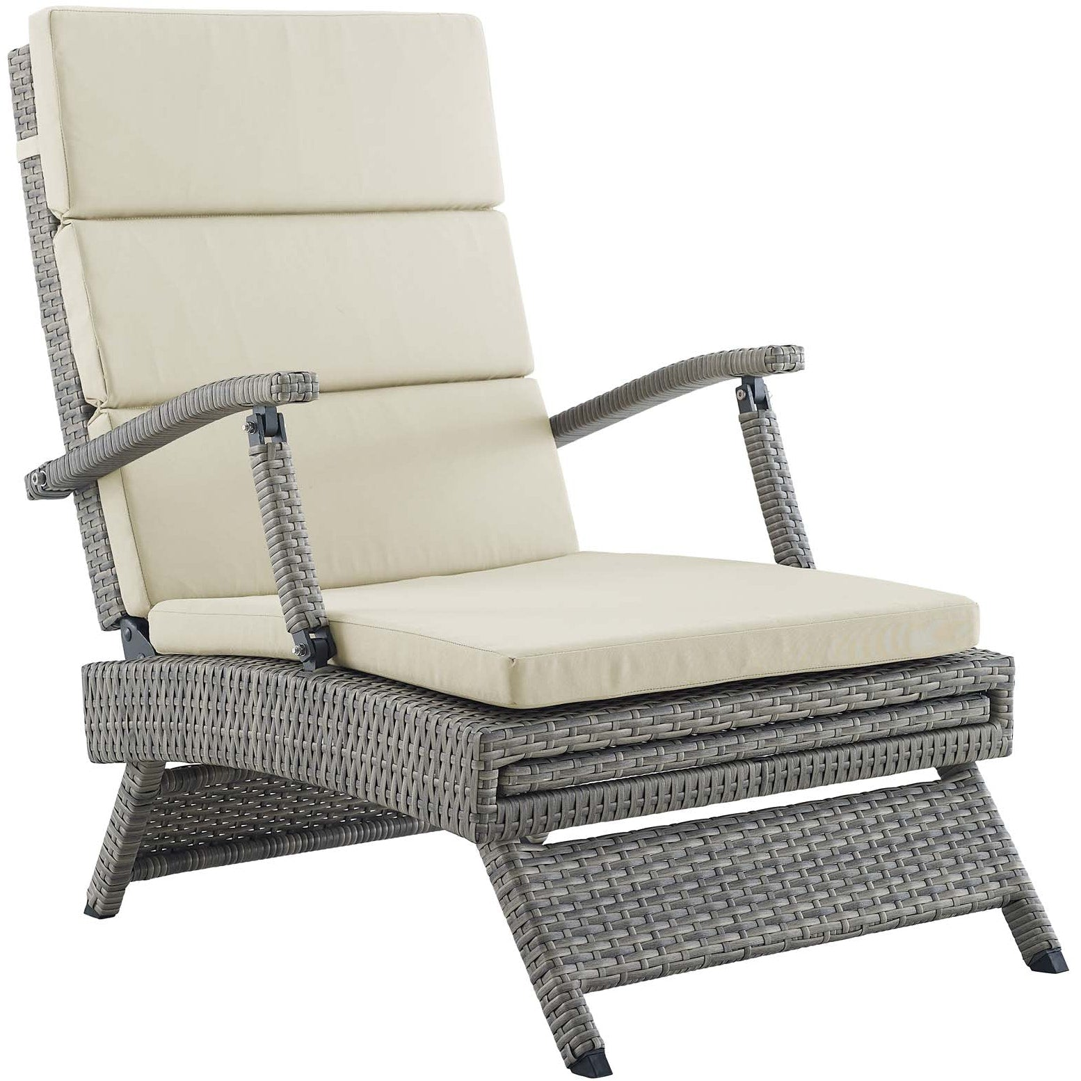 Envisage Chaise Outdoor Patio Wicker Rattan Lounge Chair - Light Gray Beige