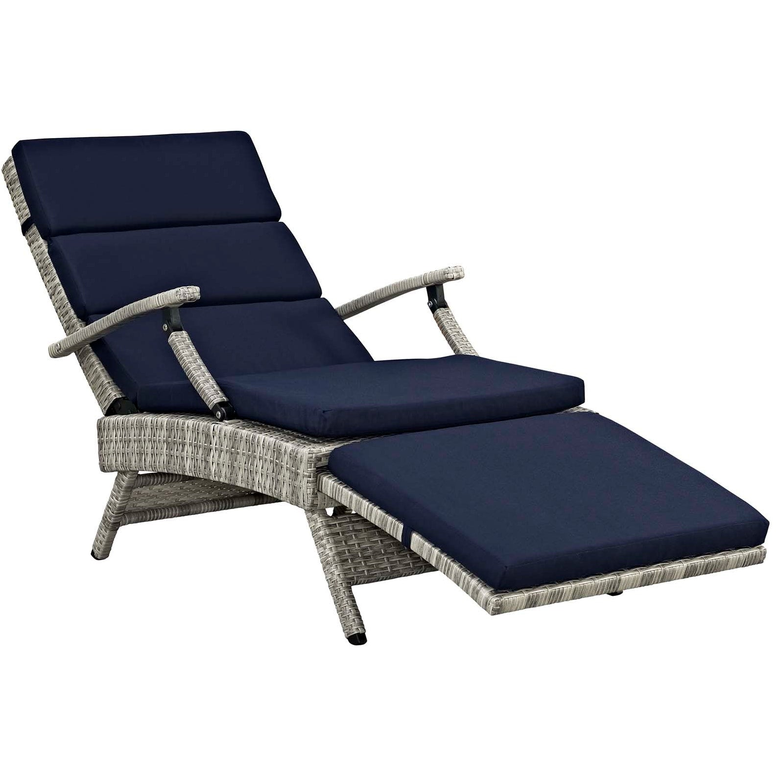 Envisage Chaise Outdoor Patio Wicker Rattan Lounge Chair - Light Gray Navy