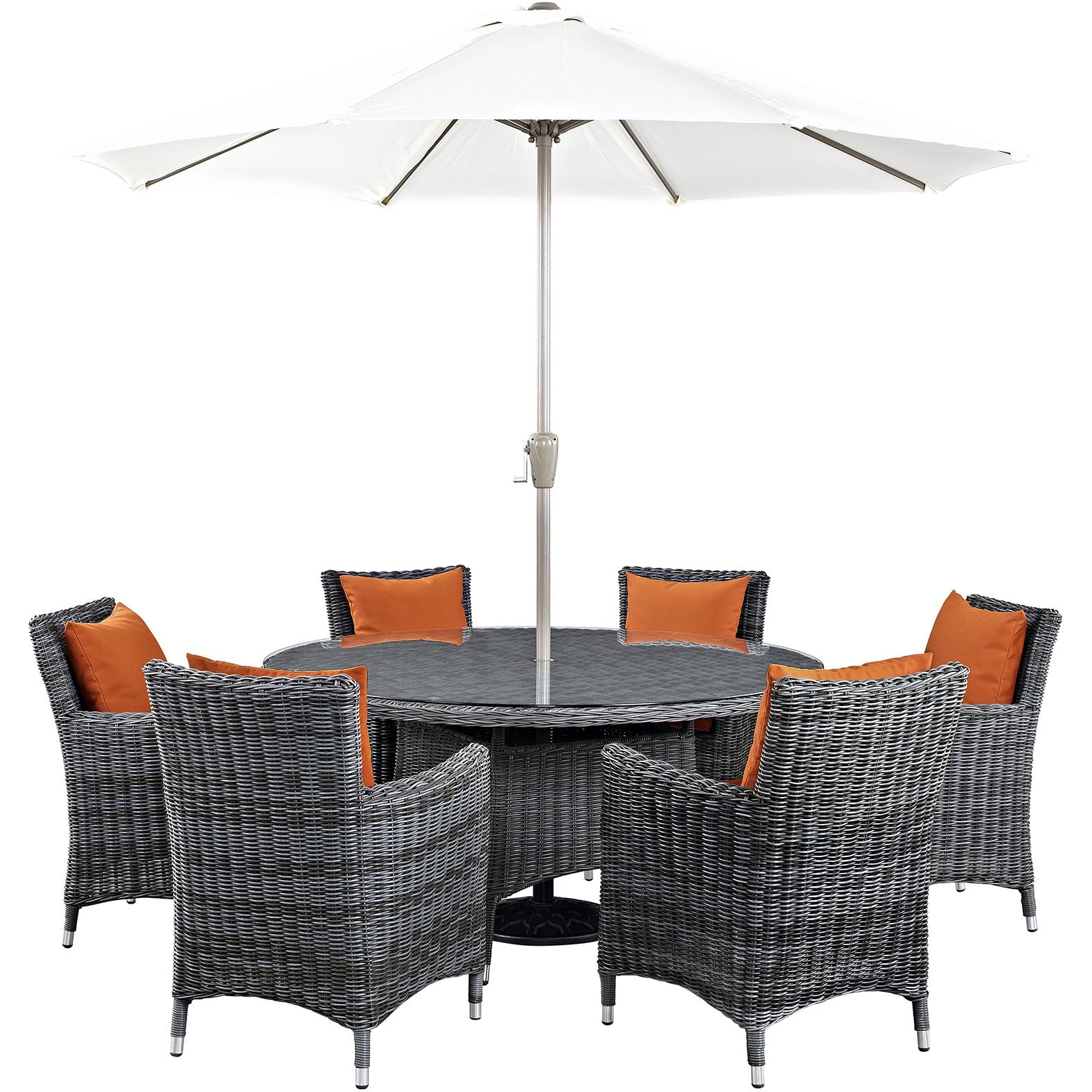 Summon 8 Piece Outdoor Patio Sunbrella® Dining Set - Canvas Tuscan