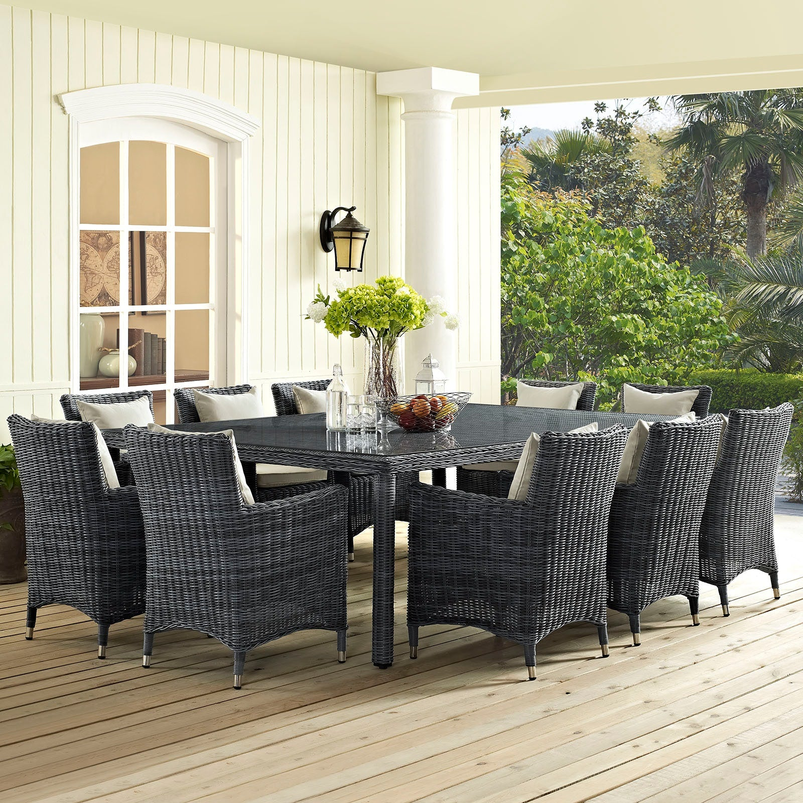 Summon 11 Piece Outdoor Patio Sunbrella® Dining Set - Antique Canvas Beige