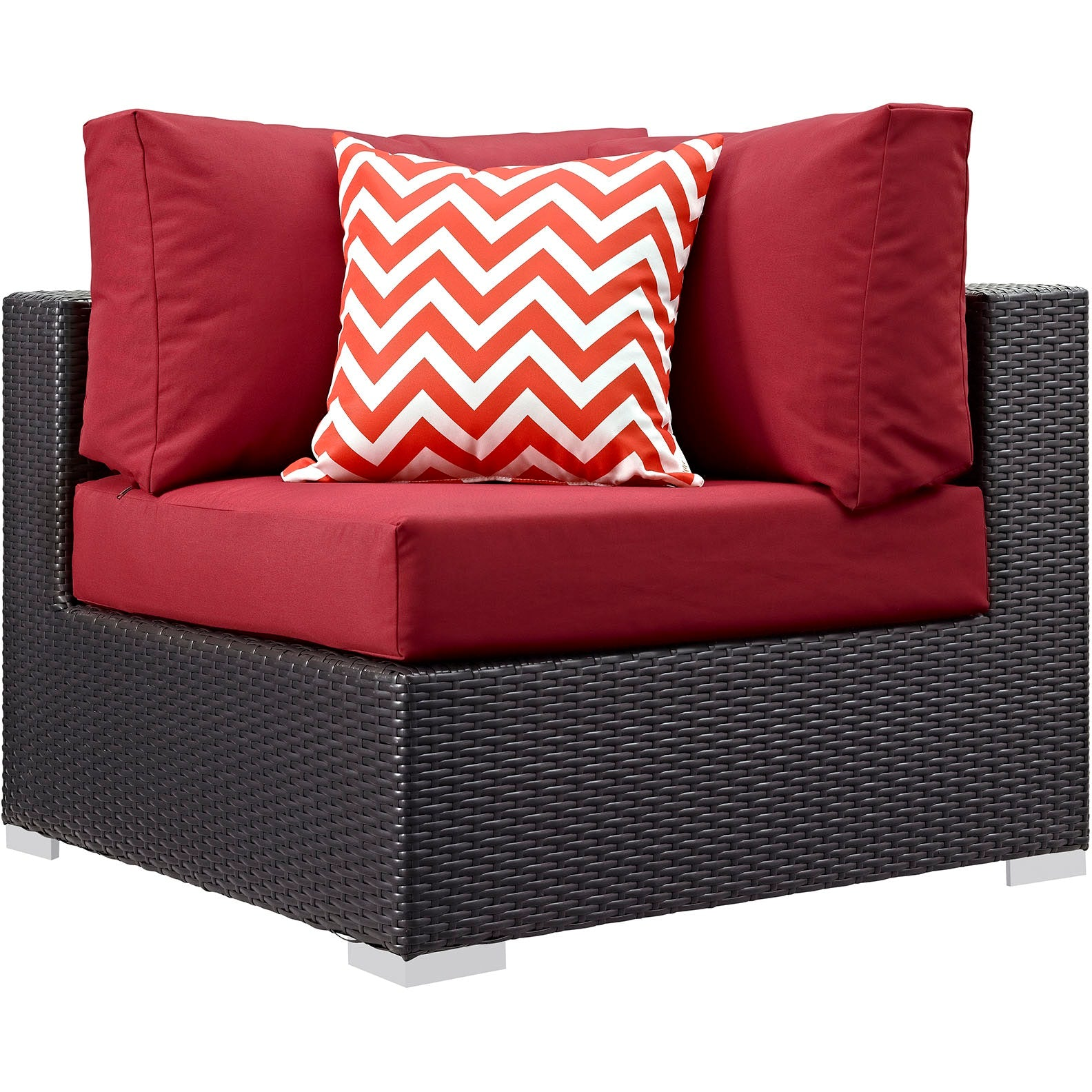 Convene 7 Piece Outdoor Patio Sectional Set - Expresso Red