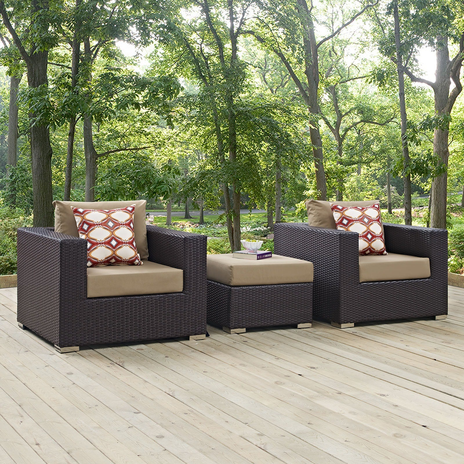 Convene 3 Piece Outdoor Patio Sofa Set - Espresso Mocha