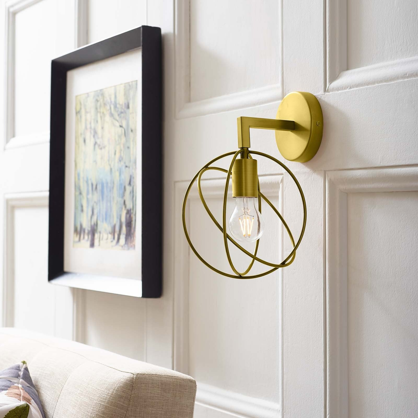 Perimeter Brass Wall Sconce Light Fixture -