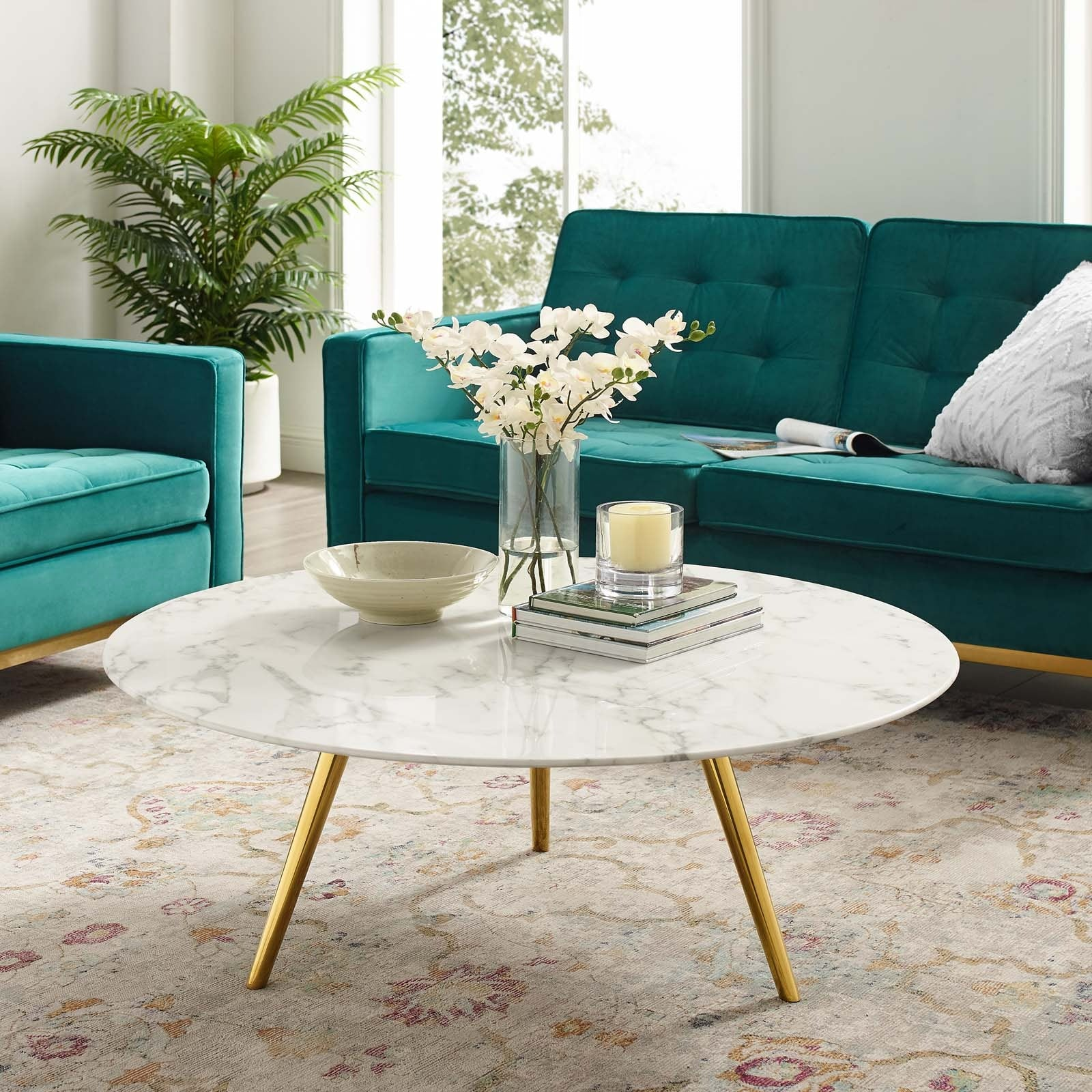 Lippa 40 Round Artificial Marble Coffee Table With Tripod Base Gold Top Drawer Furniture