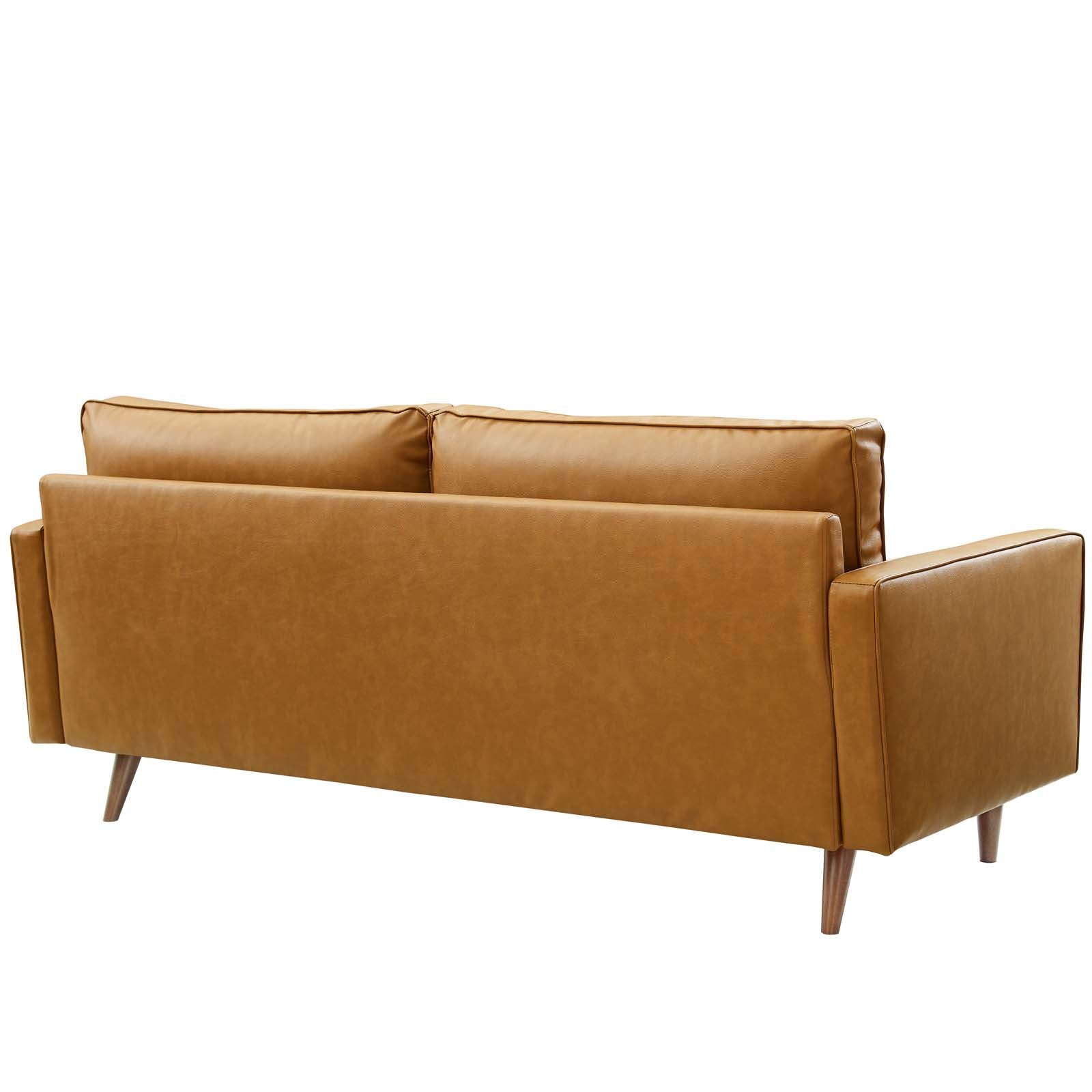 valour upholstered faux leather sofa tan