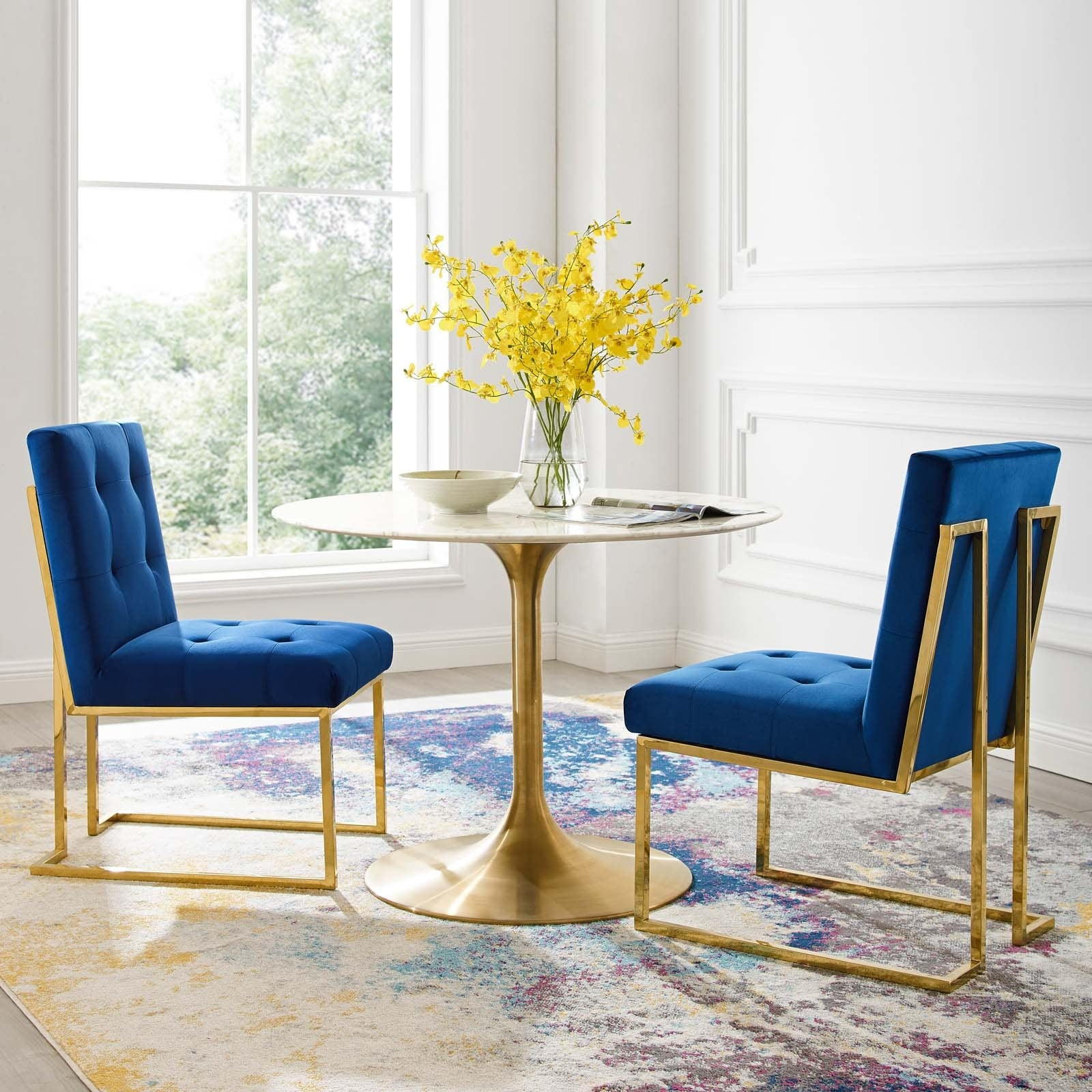 Privy Gold Stainless Steel Performance Velvet Dining Chair Set Of 2 Top Drawer Furniture