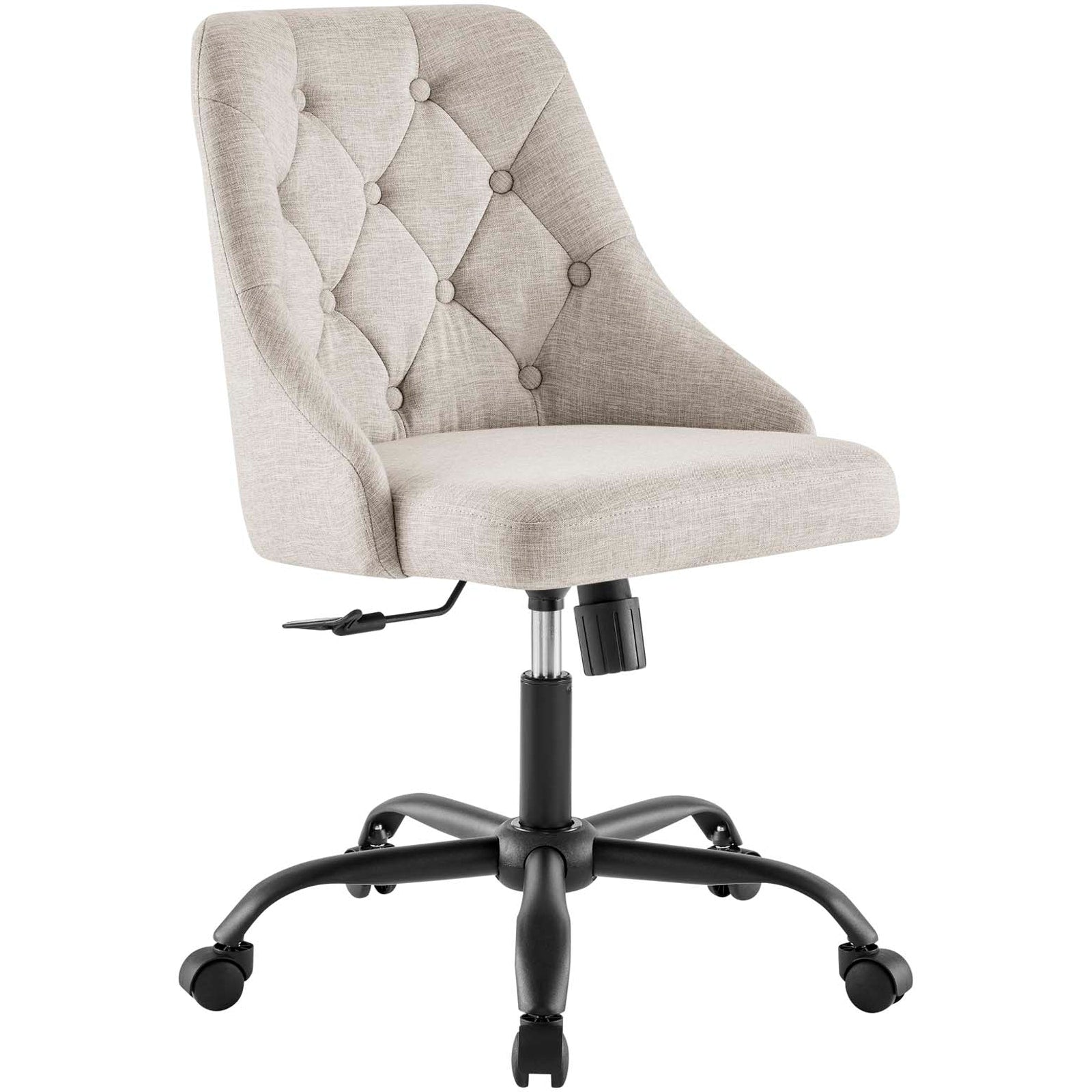 Distinct Tufted Swivel Upholstered Office Chair Black Beige Top Drawer Furniture