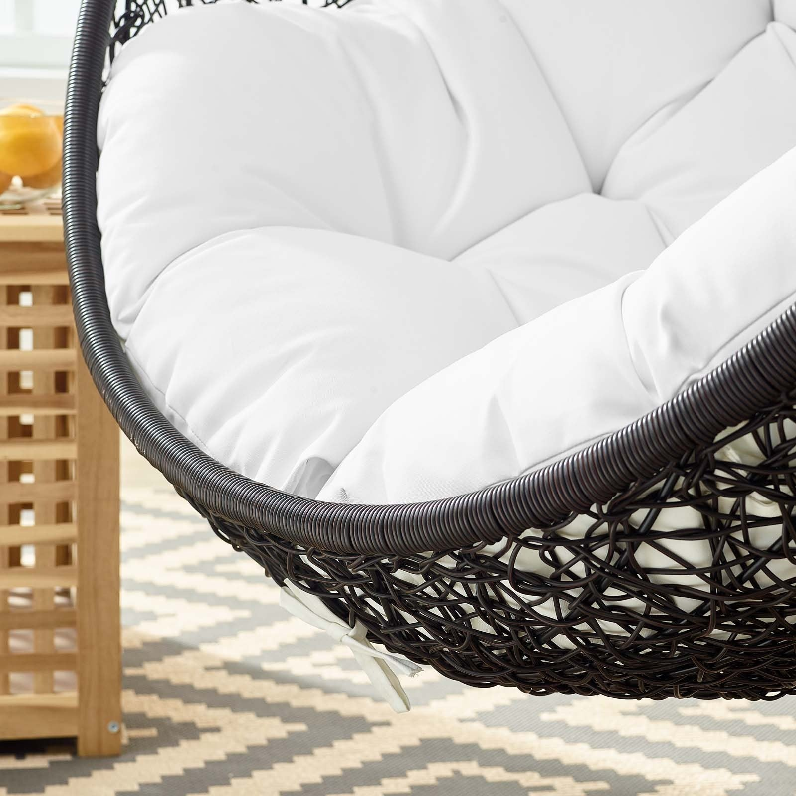 Picture of: Encase Swing Outdoor Patio Lounge Chair White Top Drawer Furniture