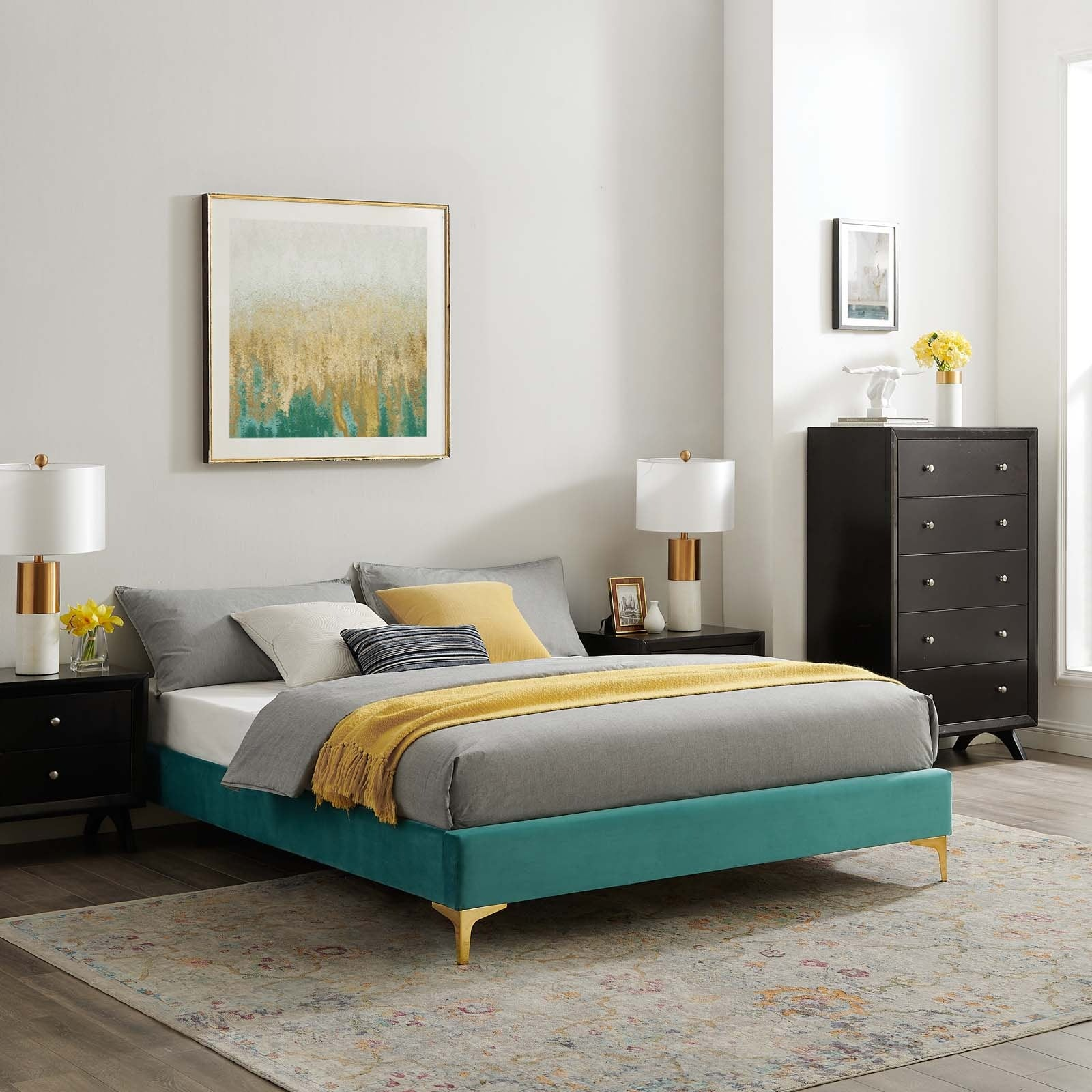 Sutton Twin Performance Velvet Bed Frame Teal Top Drawer Furniture