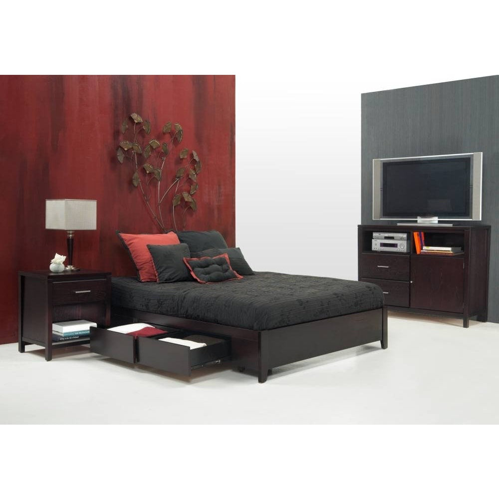 Simple Queen-size Platform Storage Bed in Espresso