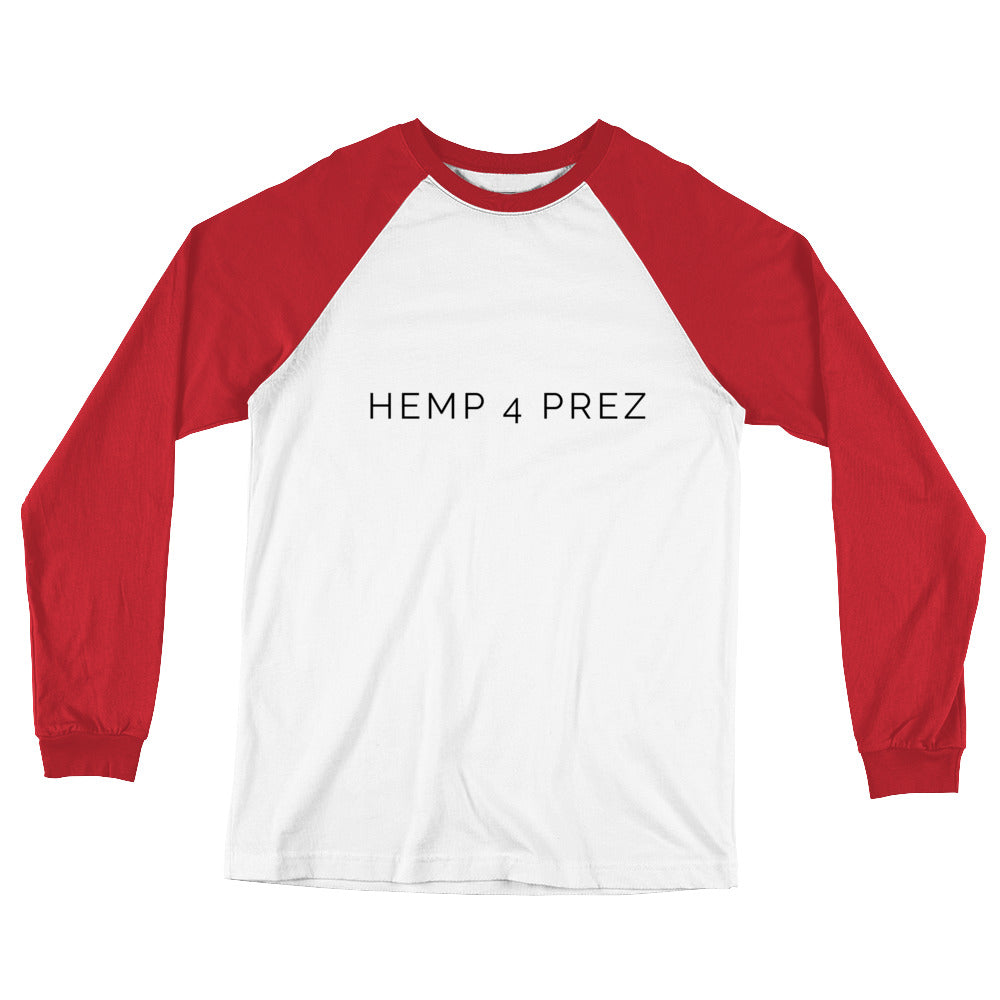 "Men's :Hemp 4 Prez"" Long-Sleeved Baseball T-Shirt - 2 Colors"