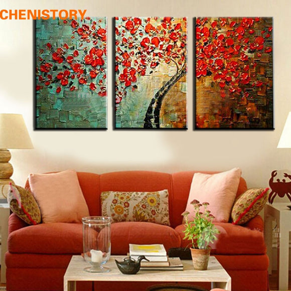 Unframed 3 Panel Red Wishing Tree Handpainted Textured Palette Knife Abstract Modern Oil Painting Wall Picture For Living Room