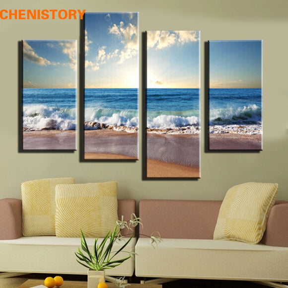 4 Pieces Beach Seascape Modern Wall Painting For Home Decorative Art Print On Canvas Picture Artwork No Frame