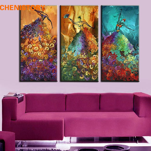Unframed 3 Panel Colorful Dancer Handmade Abstract Modern Oil Painting On Canvas Home Wall Picture For Home Decoration Artwork