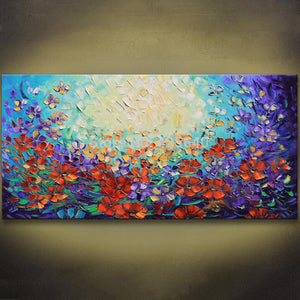 Unframed Abstract Red Flower Palette Knife Painting Hand Painted Wall Art Picture Canvas Home Decor For Living Room Decoration