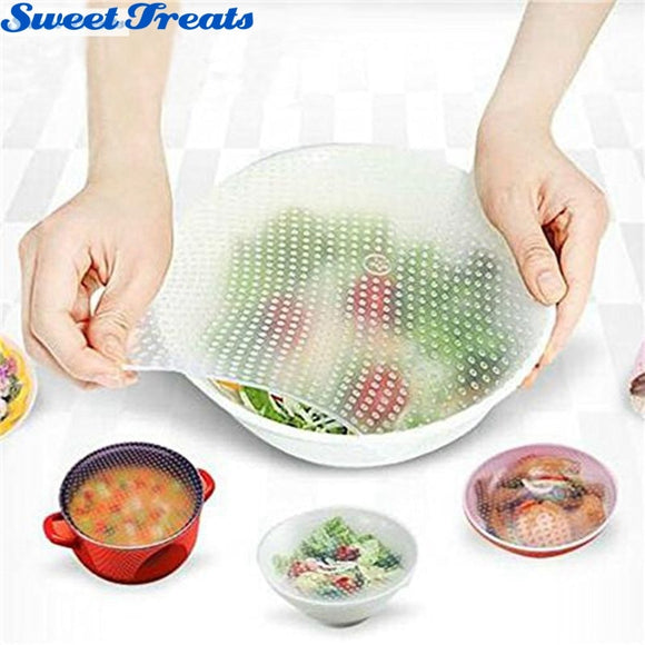 Reusable Silicone Food Wraps Seal Cover Stretch Multi-functional Food Fresh Keeping Saran Wrap Kitchen Tools 4pcs - aeylist