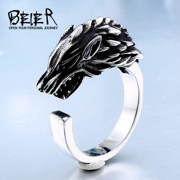 Store Stainless Steel Game Thrones Ice Wolf House Stark Of Winterfell Ring Fashion Jewelry