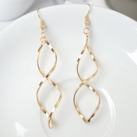 Fashion Double Loop Drop Earrings For Women Long Wave Dangle Earrings High Quality Statement Wedding Jewelry Wholesale