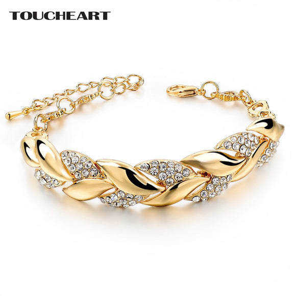 Braided Gold color Leaf Bracelets & Bangles With Stones Luxury Crystal Bracelets For Women Wedding Jewelry - Free Shipping est.15 days Delivery