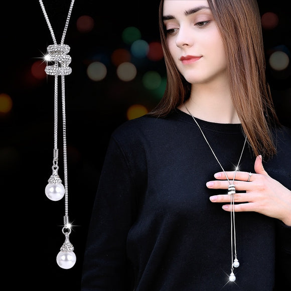 NEW Simulated Pearl Crystal Long Sweater Chain Circles Necklace Vintage Accessory Crystal Collates Statement Jewelry - Estimated Delivery Time 25 days