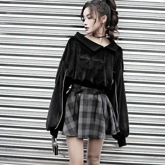 Women'S Sets Gothic Letter Embroidery Velvet Sweatshirt High Waist Bandage Gray Plaid Mini Skirt Girls Female Set Outwear