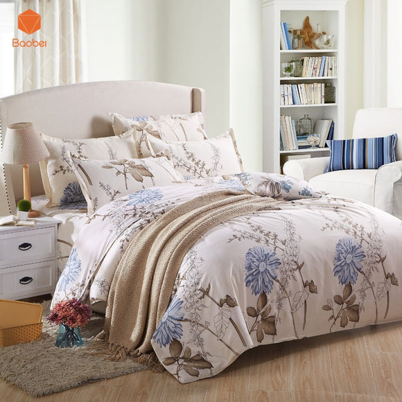 Flower Bedding set  Pillowcase 48x74cm Bedding set Polyester Duvet Cover Set Flat sheet Twin Queen King Size home decor