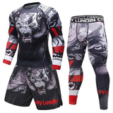 Brand New Compression Men's Sport Suits Quick Dry 3D Printed MMA sets Clothes Sports GymS Fitness Tracksuits Rashguard 2pcs/Sets