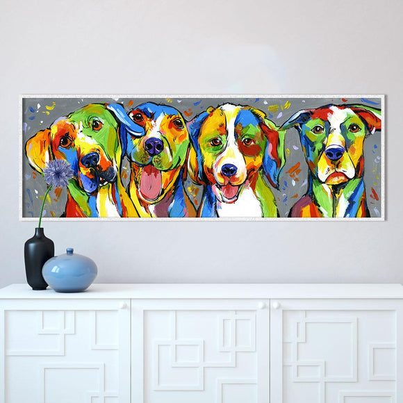 Wall Art Animal Oil Painting Dog Canvas Picture For Living Room Puppy Friendship Home Decor No Frame