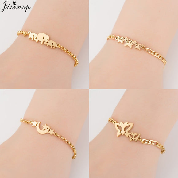 Gold Stainless Steel Animal Bracelets for Women Everyday Jewelry Butterfly Charm Bracelet - Free Shipping est.25 days Delivery