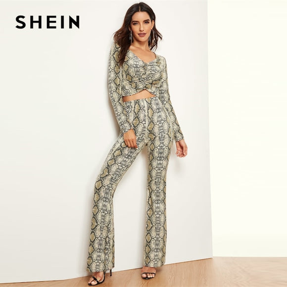 SHEIN Multicolor Ruched Front Snakeskin Print Top And Flared Pants Set Long Sleeve Co-Ord Women Spring Elegant Twopiece