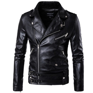 2019 New design Motorcycle Bomber Leather Jacket Men Autumn Turn-down Collar Slim fit Male Leather Jacket Coats