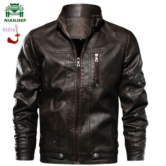 Luxury Autumn Winter Mens Zipper Leather Jacket Coats Slim Fit Motorcycle Pu Leather Jacket Stand Collar Fleece jaqueta de couro
