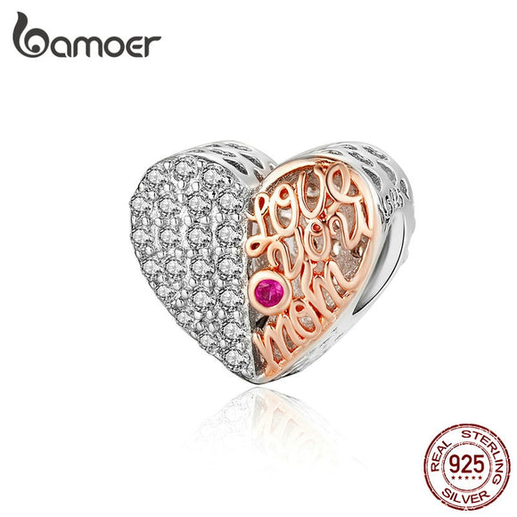 BAMOER Biocolor Heart-shape Beads for Original Silver Charm Bracelet 925 Sterling Silver Mom Heart Openwork Metal Bead SCC1173