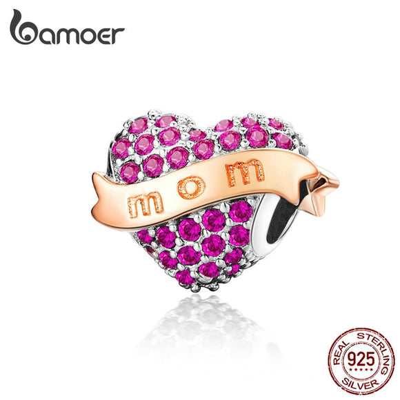 BAMOER Rinestone Heart Beads for Bracelet MOM Mother Gift 925 Sterling Silver Charm Compatible Original Snake Bracelet SCC1174