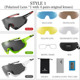 Cycling Glasses Polarised Men Women Bicycle Glasses 5 Lens ***Inner frame for shortsighted lenses*** included - aeylist