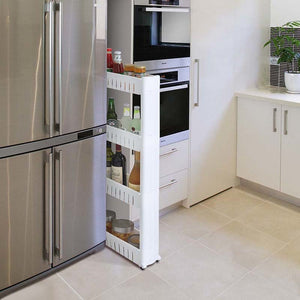 Bathroom Storage Shelf Slide Out Tower Rolling Castor Three/Four Layers Rack Multipurpose Kitchen Trolley Spice Organizer Holder
