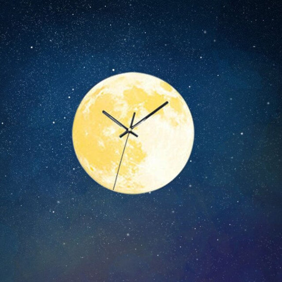 30CM Creative Glowing Moon Decorative Wall Clock Silent Bedroom Luminous Hanging Clock Home Decor for Kids Room Gifts