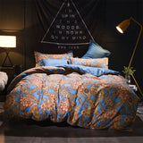 Vintage luxury Polyester Duvet Flat bedsheet Pillowcase Queen king Bedlinen Bedclothes home decor