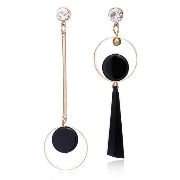Korean Fashion Geometric Long Asymmetry Earring Rhinestone Circle Ear Stud New Acrylic Big Earrings Bijoux Brincos E203