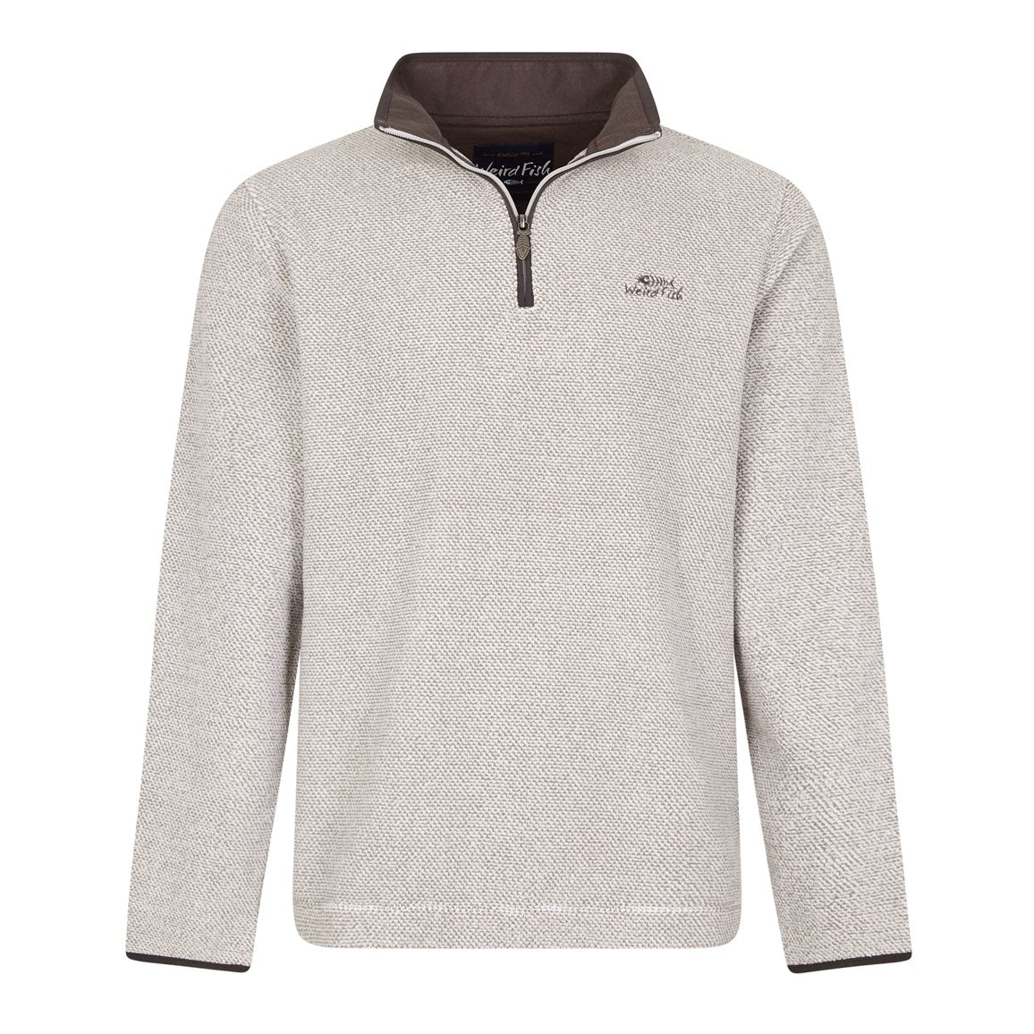 Weird Fish Errill 1/4 Zip Textured Fleece Sweatshirt