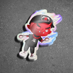 Animal Crossing Oni Holographic Sticker - Totem Media