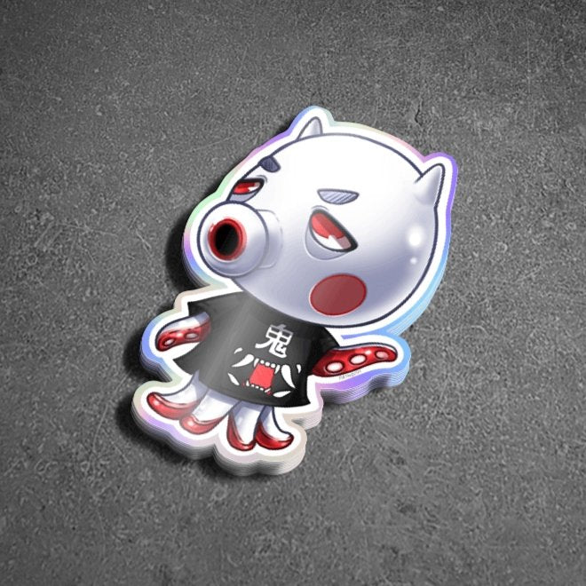 Animal Crossing Oni Octopus Villager Holographic Sticker - Totem Media
