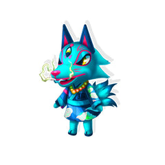 Animal Crossing Wolf Villager Holographic Sticker - Totem Media