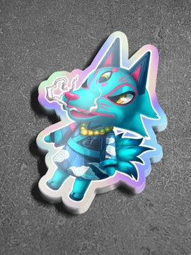 Animal Crossing Wolf Villager Holographic Sticker