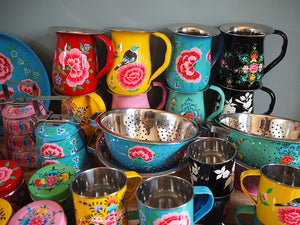 Hand Painted Kashmir Enamelware Floral Kitsch Kitchen Steelware Wholesale Sample Pack