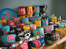 Load image into Gallery viewer, Hand Painted Kashmir Enamelware Floral Kitsch Kitchen Steelware Wholesale Sample Pack