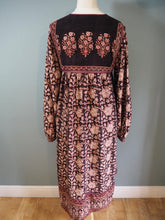 Load image into Gallery viewer, Vintage Indian Hand Block Printed Rare Hippie Phool Cotton Dress & Afghan Coat Set