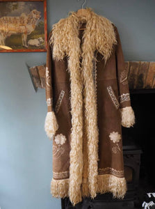 Beautiful Rare Vintage Penny Lane Jimi Hendrix Afghan Coat Embroidered Suede Sheepskin Jacket UK Size 12/14 M/L